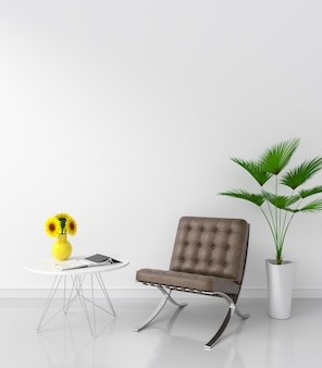 Brown chair in white room for mockup