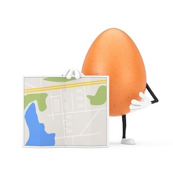 Коричневый талисман характера человека куриного яйца с абстрактной картой плана города на белой предпосылке. 3d рендеринг