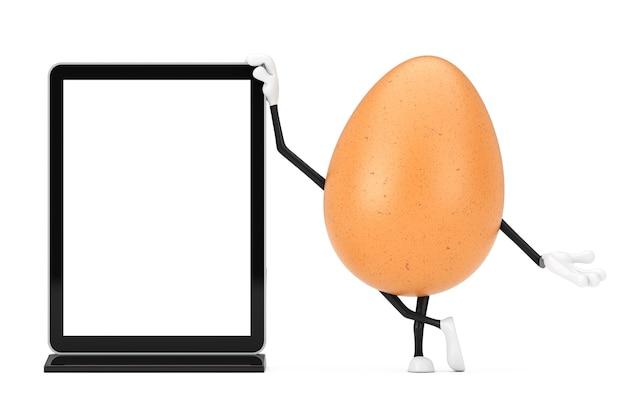 흰색 바탕에 디자인을 위한 템플릿으로 빈 무역 박람회 lcd 화면 스탠드가 있는 갈색 닭고기 달걀 사람 캐릭터 마스코트. 3d 렌더링