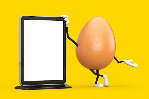 노란색 배경에 디자인을 위한 템플릿으로 빈 무역 박람회 lcd 화면 스탠드가 있는 갈색 닭고기 달걀 사람 캐릭터 마스코트. 3d 렌더링