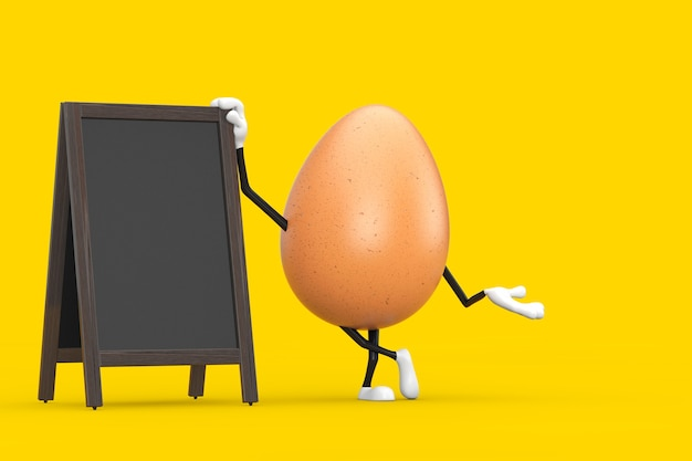 Талисман характера персоны куриного яйца брайна с дисплеем пустых деревянных досок меню на открытом воздухе на желтой предпосылке. 3d рендеринг