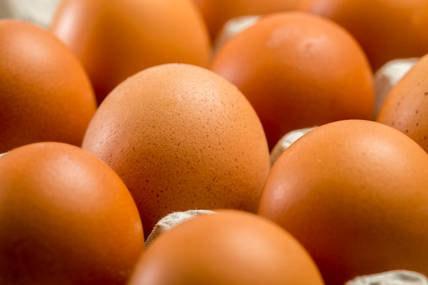 Brown chicken eggs close-up in the tray