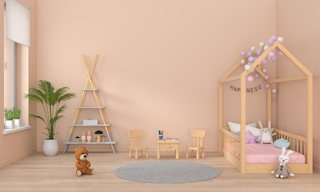 Brown children bedroom interior