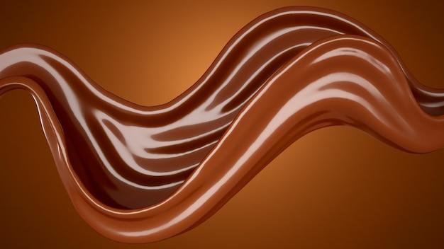 Коричневый шоколадный фон всплеска. 3d иллюстрации, 3d рендеринг.