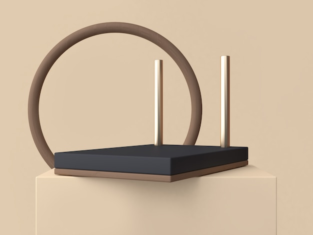 Brown circle abstract frame and black shape podium 3d rendering