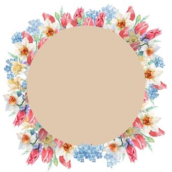 チューリップと水仙の花のフレームと茶色の円