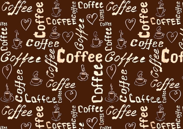 Brown coffee surface with lettering, hearts and coffee cups