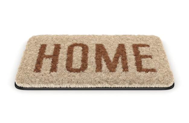 Brown coir doormat with text home isolated on white background