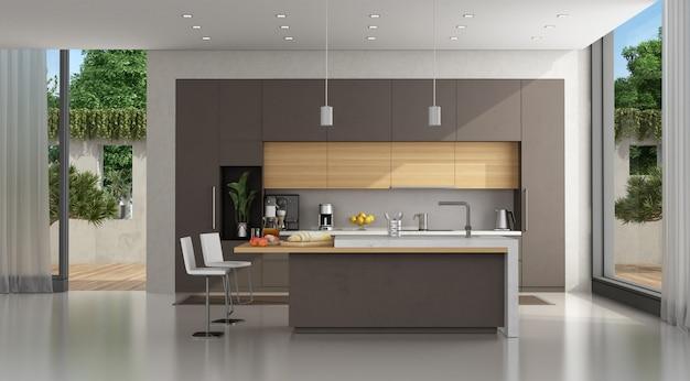 モダンなヴィラの茶色のコンクリートキッチン