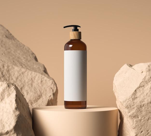Коричневая косметическая бутылка на пастельном каменном фоне