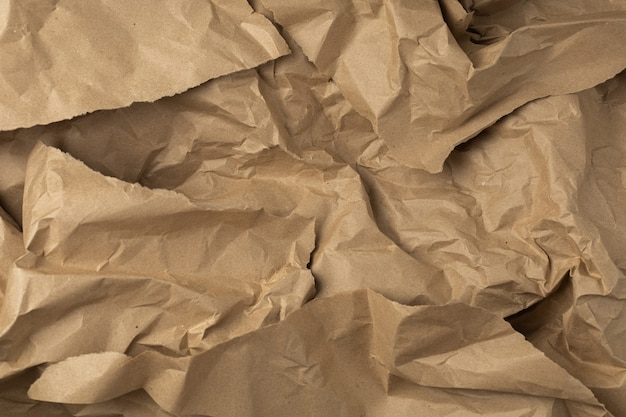 Brown craft wrapping crumpled paper background