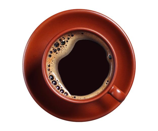 흰색 배경에 고립 된 뜨거운 커피의 갈색 컵, 상위 뷰