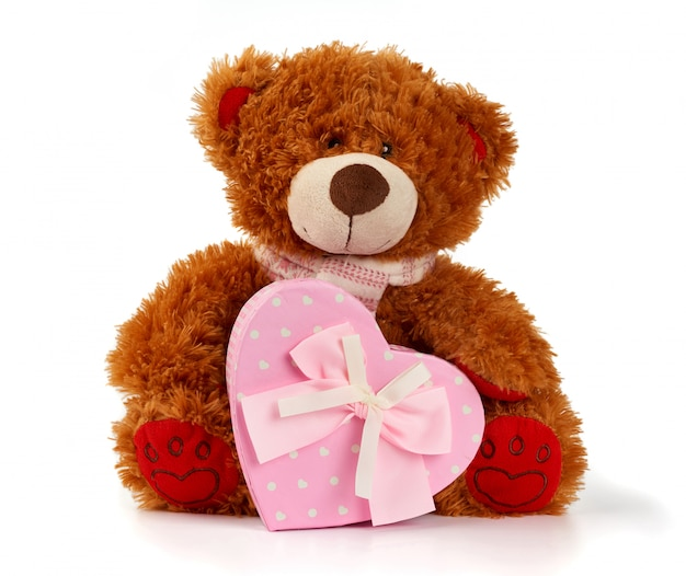 Brown curly teddy bear sits and holds a pink cardboard box with a gift
