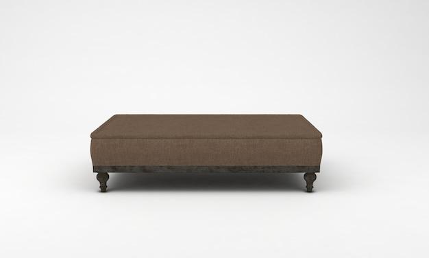 Коричневый кушетка вид спереди мебель 3d рендеринг