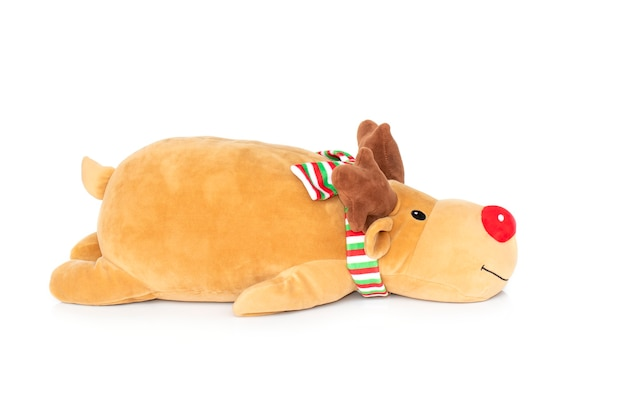 Brown deer plush isolated on white