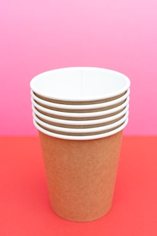 Brown disposable paper cups for drinks.
