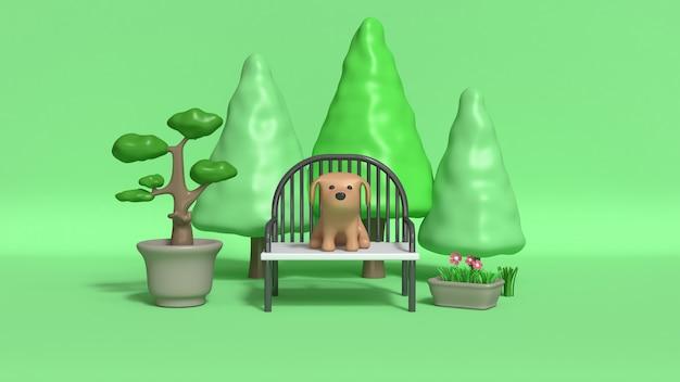 Brown dog on chair in garden 3d rendering