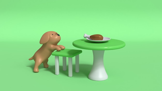 Brown dog clamber chair and table 3d rendering