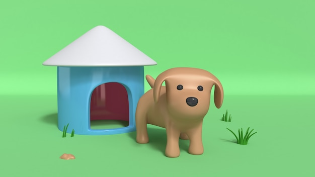 Brown dog and dog house 3d rendering