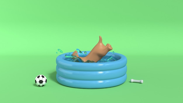 Brown dog jumping into pool green background 3d render