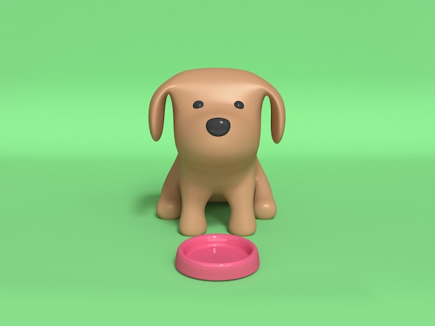 Brown dog sitting and pink dog dish 3d rendering