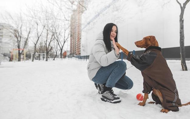 茶色の犬のドレスと冬の雪の中で座って遊んで幸せな女の子