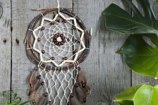 Brown dreamcatcher with monstera leaves