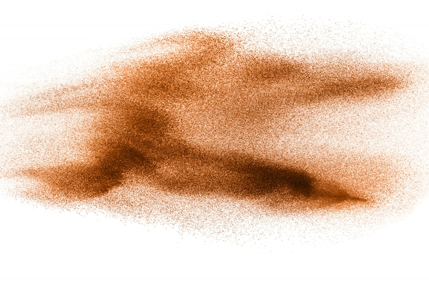 Brown dry river sand explosion isolated. abstract sand splashing.