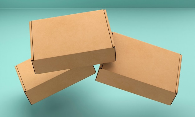 Brown empty simplistic cardboard boxes flying