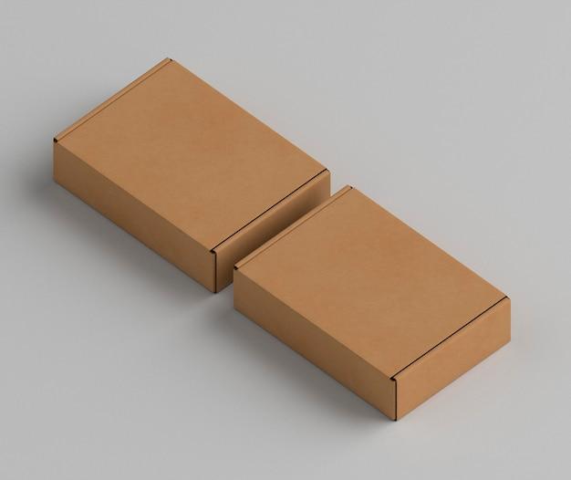 갈색 빈 단순한 골 판지 상자 높은보기