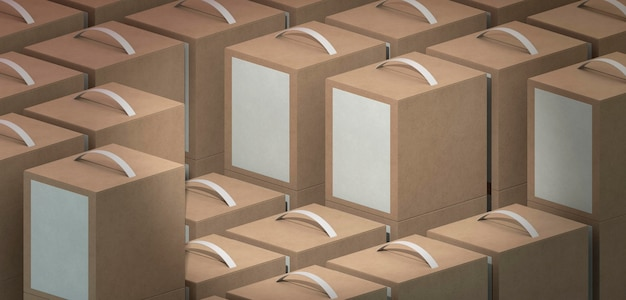 Brown empty simplistic cardboard boxes with handles
