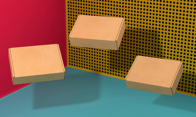 Brown empty simplistic cardboard boxes with shadows