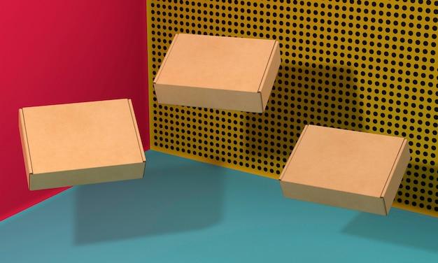 그림자와 함께 갈색 빈 단순한 골 판지 상자