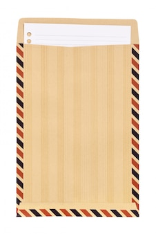 Brown envelope with white note paper