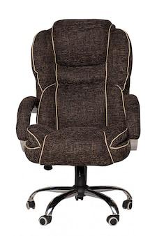 Коричневое тканевое кресло на белом