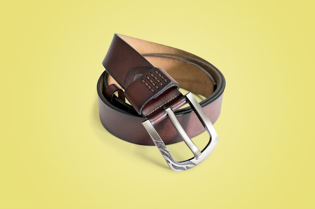 Brown fashion leather belt isolated