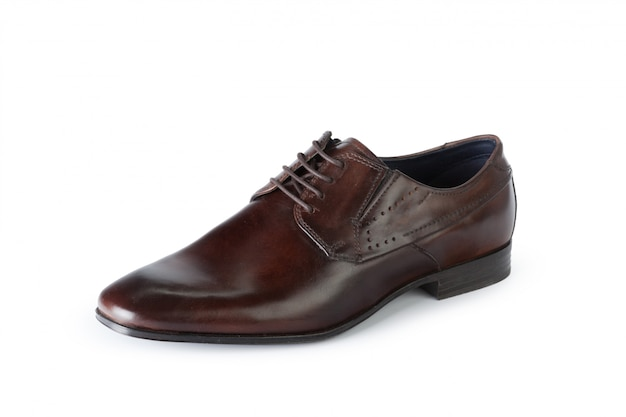 Brown formal male leather shoes isolated