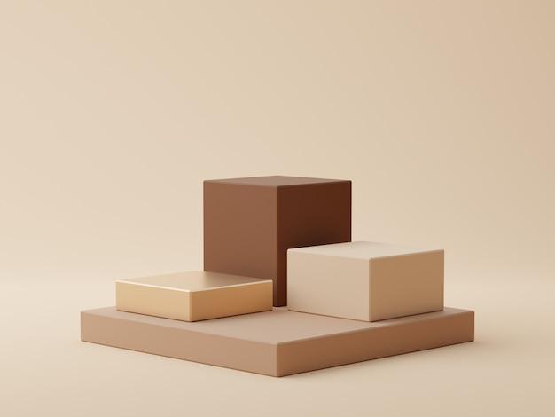 製品の表示のための表彰台と茶色の幾何学的形状の背景
