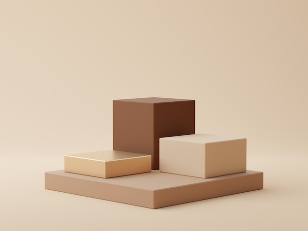 Brown geometric shape background with podium for product display