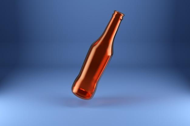격리 된 파란색 배경에 갈색 유리 맥주 병 날뛰는