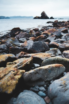 Brown and gray rocks near body of water during daytime