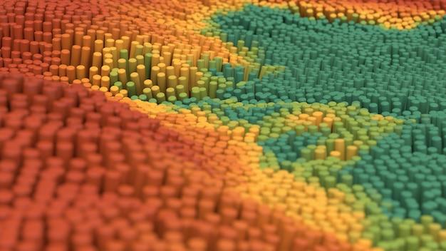 Коричневые, зеленые и желтые цилиндры трансформируются. концепция ландшафта. крупный план. абстрактная иллюстрация
