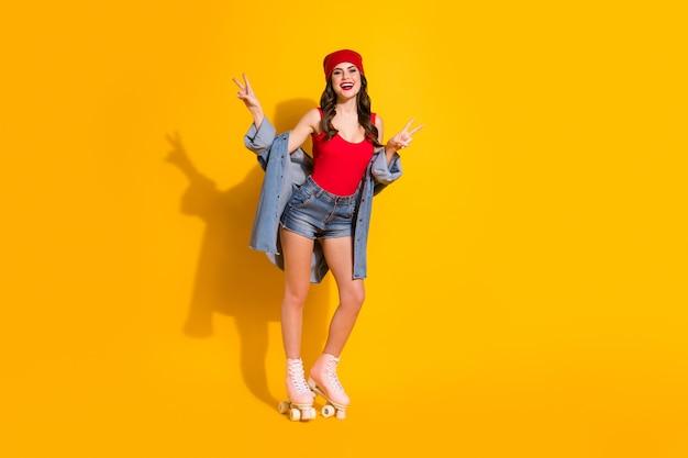 Brown hair girl enjoy summer roller skates