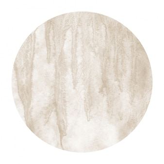 Brown hand drawn watercolor circular frame background texture with stains
