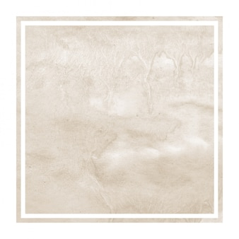 Brown hand drawn watercolor square frame background texture with stains