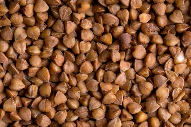 Brown healthy uncooked buckwheat