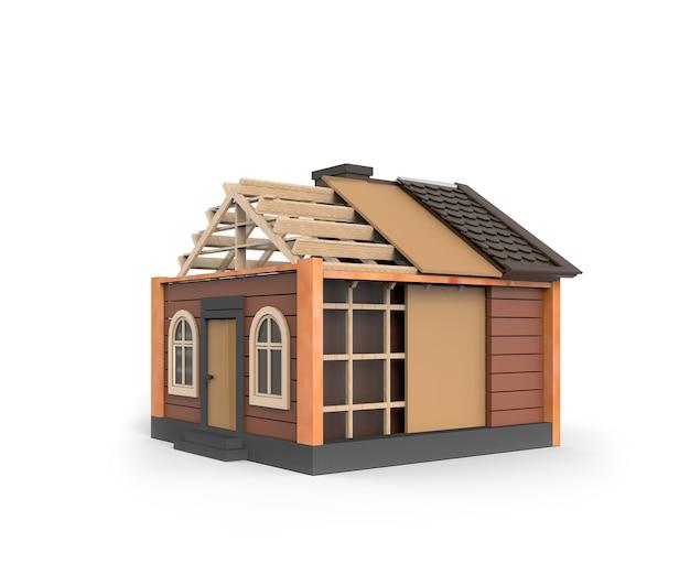 分離された茶色の家