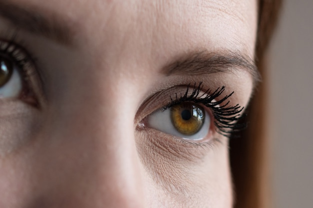 Brown human eye extreme closeup in low light technique.