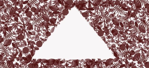茶色の葉のメッセージフレームの三角形テキストや広告の単語を追加するため