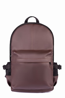 Brown leather backpack isolated on white